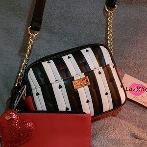 Betsey Johnson black-and-white cross body  purse